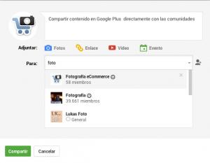 Google Plus compartir