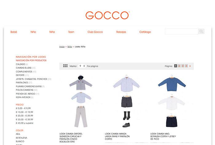 Navegación en base a looks en Gocco