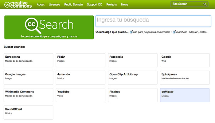 Buscador de imágenes Creative Commons