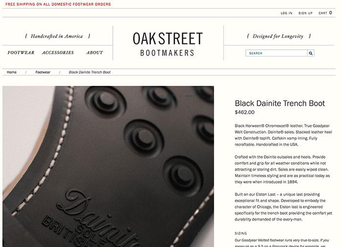 Oakstreet Bootmakers apuesta por fotografías de alta resolución de todos los detalles del producto