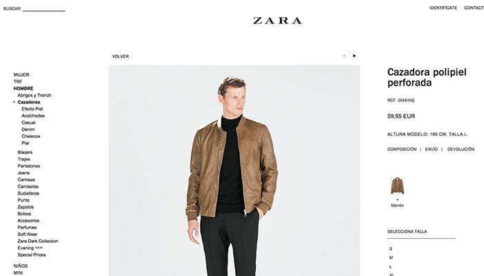 Zara utiliza grandes fotografías en la ficha de producto