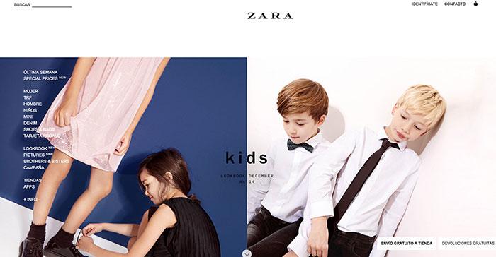 Grandes fotografías en la página de inicio de Zara