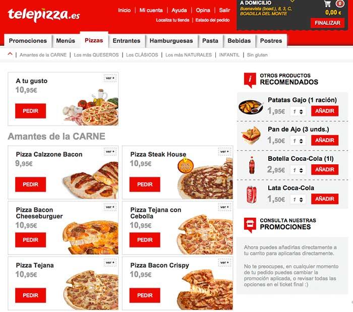 Cross-selling en Telepizza, durante todo el proceso de compra