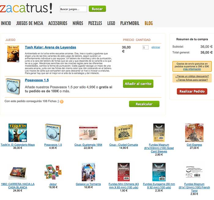 Cross-selling en la página de carrito de Zacatrus