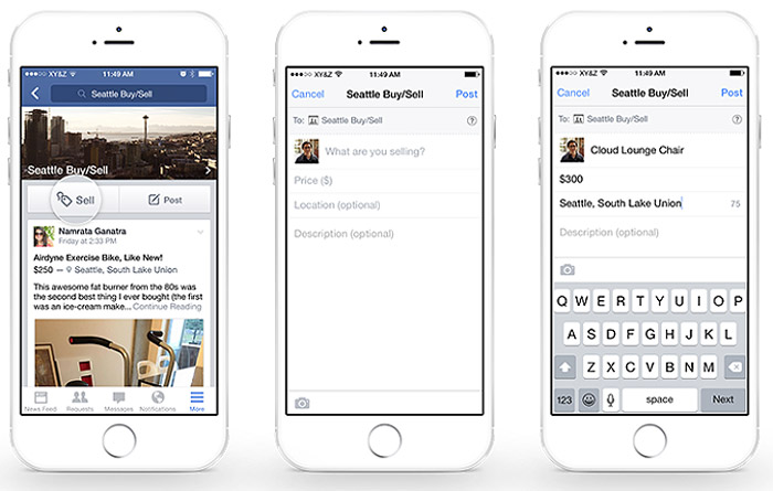 Función de vender en Facebook