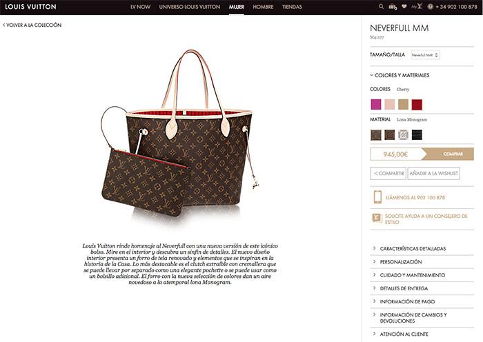 ficha producto ecommerce lujo