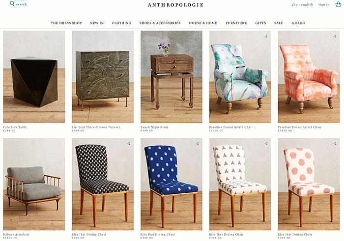 tienda online anthropologie