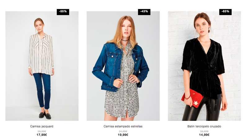 3 productos distintos que se muestran en la misma fila de un grid de categoría. Cada uno de ellos con un estilo distinto, modelos a 3/4 de cuerpo, modelo a cuerpo entero, distintos fondos...