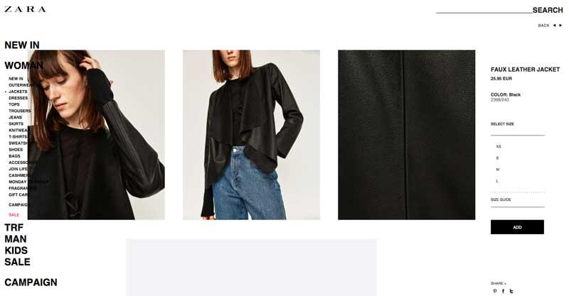 Te puede gustar más o menos el estilo de las imágenes de Zara, pero cometen sus errores, y algunos de ellos muy flagrantes como el no controlar que las imágenes molesten en la experiencia de compra.