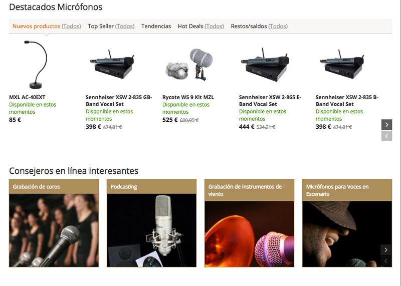 Desde la propia página de categoría de Thomann puedes acceder a guías de compra para seleccionar los mejores productos para tus necesidades.
