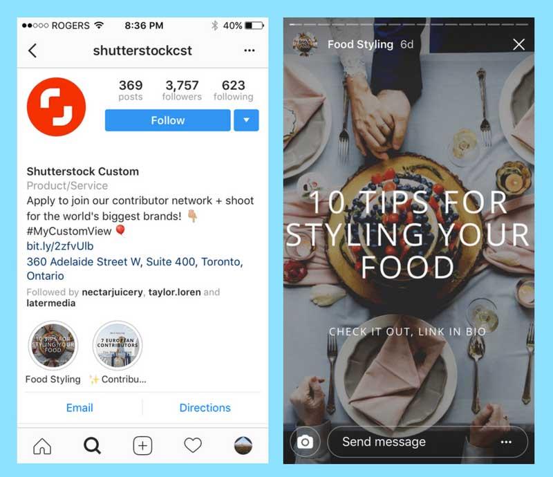 Shutterstock y su uso de los Hightlights de Instagram Stories