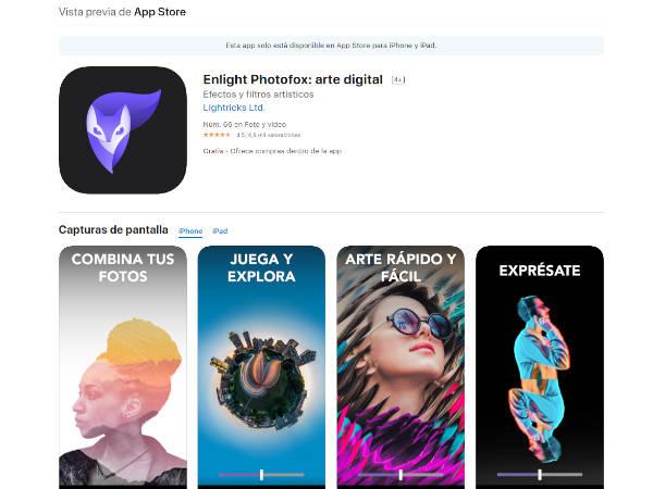 Pantallazo de APPStore con la aplicación Enlight Photosox app para fotografía de producto