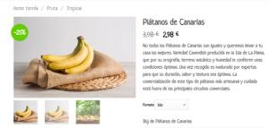 Ficha de producto Plátano de Canarias