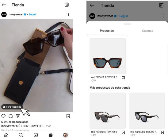 vídeo shopping Instagram